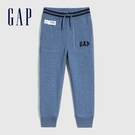 Gap男幼童 Logo碳素軟磨鬆緊休閒長褲 600503-雜藍色