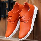 皮鞋—夏季男士休閒皮鞋新款透氣男鞋子韓版潮流百搭板鞋防滑工作鞋 依夏嚴選