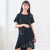 氣質洋裝--優雅拼接撞色點線印花仿皺雪紡寬鬆圓領短袖連衣裙(黑XL-3L)-D482眼圈熊中大尺碼◎