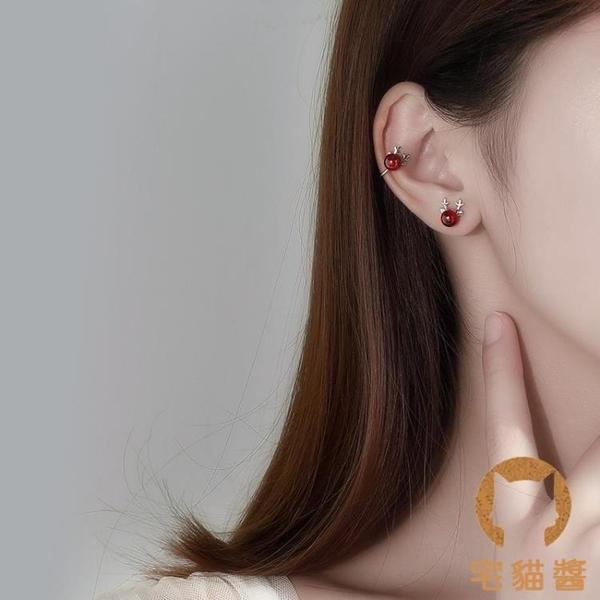 925純銀耳釘女紅色石榴石耳環小巧氣質簡約耳飾【宅貓醬】