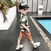 夏季新款T恤上衣男童短袖迷彩帥氣兩件套 QQ275『優童屋』