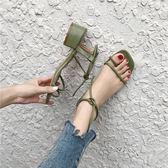 季新款粗跟涼鞋女韓版中跟套趾一字綁帶露趾港味羅馬女鞋 ☸mousika