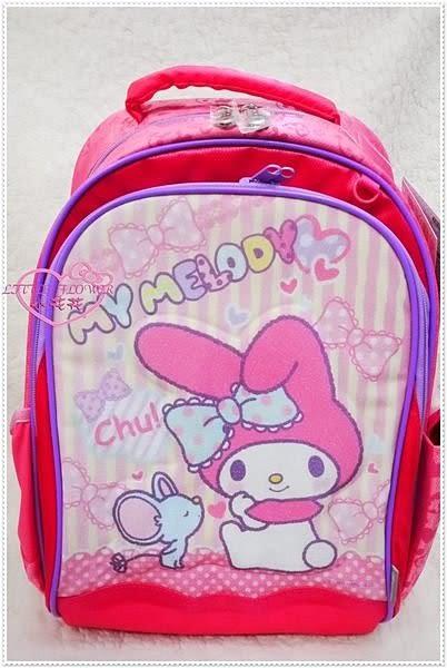 ♥小花花日本精品♥ Hello Kitty 美樂蒂 健康護脊書包 老鼠親親粉色直條紋書包後背包10005606