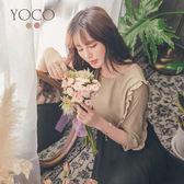 東京著衣【YOCO】質感復古袖荷葉綴飾純色上衣-S.M.L(181375)