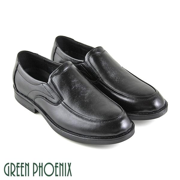 T59-10929 男款全真皮皮鞋 極簡線條綁帶全真皮平底皮鞋通勤/商務/紳士皮鞋【GREEN PHOENIX】