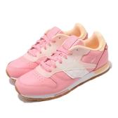 【海外限定】 Reebok 休閒鞋 CL Leather ATI TPU 粉紅 橘 女鞋 大童鞋 運動鞋 【ACS】 DV5245