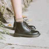 敘舊英倫風小皮鞋真皮高筒短靴子單鞋圓頭秋冬季加絨復古馬丁靴女