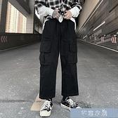 2021春季新款潮流ins復古純色休閑工裝褲口袋寬松學生直筒運動 快速出貨 YYS