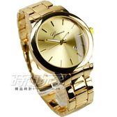 Geneva 簡約時刻精美時尚腕錶 女錶/中性錶/男錶 大錶徑/大錶面 日期視窗 金色電鍍 Y113金