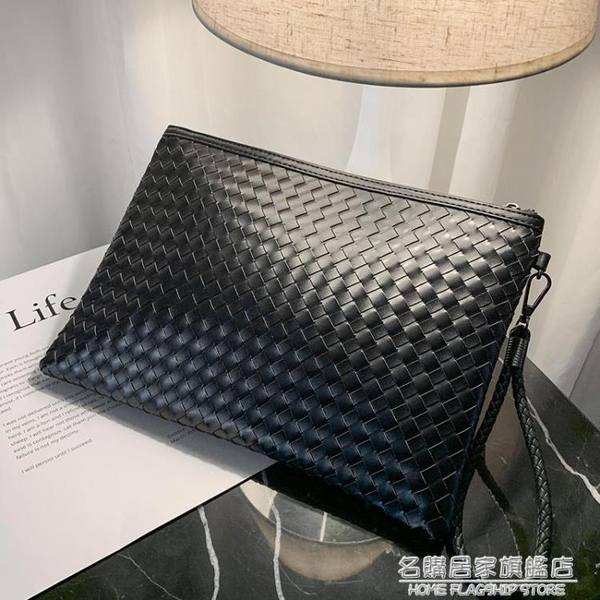 韓版男士時尚手包編織男女信封包手拿包手抓包A4文件包ipad包斜跨 名購居家