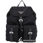 PRADA 三角LOGO釦帶設計尼龍後背包(黑色) 1540033-01