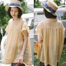 T恤-100支純苧麻開叉花瓣袖短袖寬鬆上衣/設計家 S9532