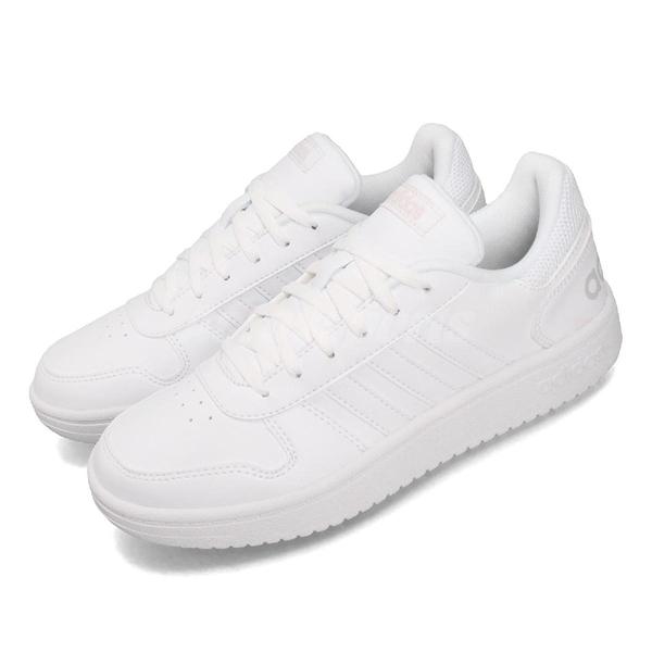 adidas 休閒鞋 Hoops 2.0 白 灰 女鞋 運動鞋 【PUMP306】 B42096