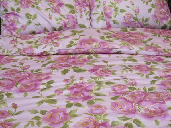 碧多妮寢飾-玫瑰金邊花朵-60支紗精梳綿-床包組-標準版-[P2249]