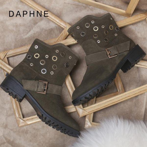 中筒女靴 馬丁靴切爾西靴英倫風單靴真皮平底靴子粗跟短靴女  宜室家居