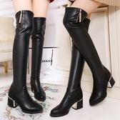 618大促靴子女秋款2019新款長筒小辣椒高跟過膝彈力靴冬季高筒加絨長靴