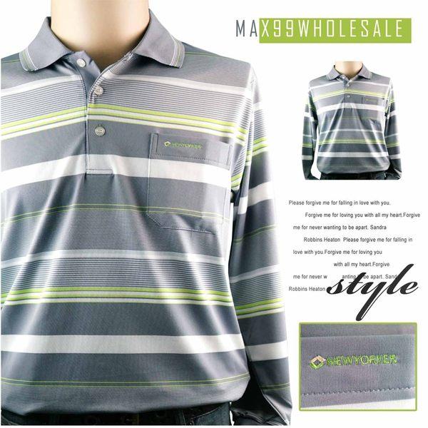 【大盤大】(C23636) 男士 吸濕排汗POLO衫 長袖涼感衣 速乾 橫條紋 口袋排汗衣 台灣製 有大尺碼