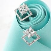 耳環 925純銀 鑲鑽-風靡方形生日情人節禮物女飾品3色73hz68【時尚巴黎】