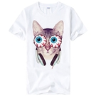 Eyeball Cat短袖T恤-白色 貓...