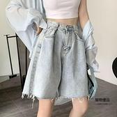 復古牛仔短褲女薄款夏季高腰寬鬆垂感直筒顯瘦闊腿五分中褲子【聚物優品】