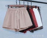 銅氨絲短褲女顯瘦高腰寬鬆學生短褲運動休閒褲熱 千千女鞋