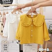 女童春裝襯衫簡約長袖純色翻領襯衣【奇趣小屋】