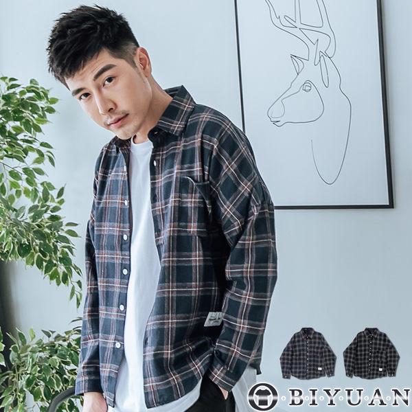 【OBIYUAN】長袖襯衫 復古 寬鬆 格紋襯衫 共2色【FPP152】