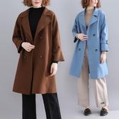 大翻領毛呢外套女秋冬新款復古純色大尺碼時尚顯瘦腰封長袖呢子大衣‧復古‧衣閣