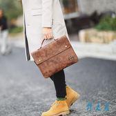 時尚瘋馬PU皮防水公文包薄款韓版男包復古文件手提包電腦包公事包潮LXY1779【野之旅】