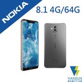 【贈滿版玻璃保貼 黑+支架】Nokia 8.1 (TA-1119) 4G/64G 6.3吋 智慧型手機【葳訊數位生活館】