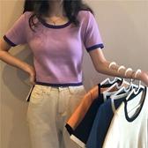 DE shop - 撞色修身短袖百搭短款針織T恤上衣 - HL-206