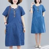 薄丹寧刺繡洋裝-中大尺碼 獨具衣格 J2755