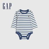 Gap嬰兒 全棉柔軟長袖包屁衣 650312-藍白條紋