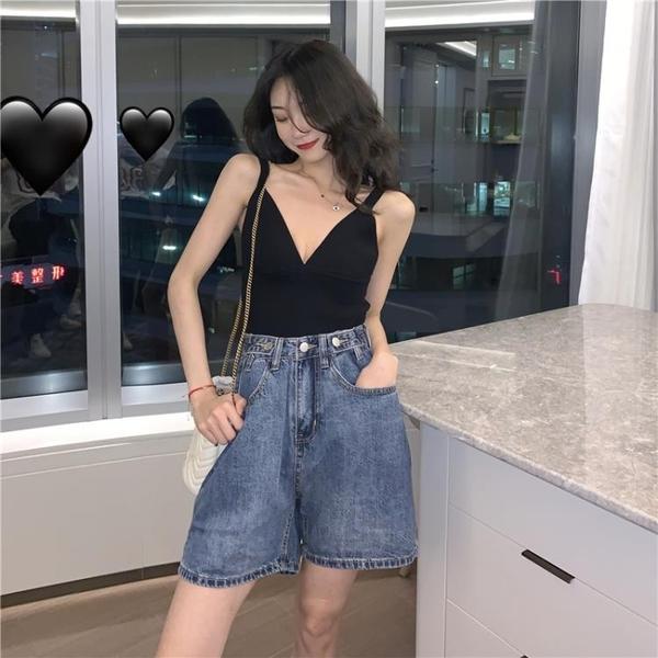 針織吊帶背心女外穿性感上衣高腰牛仔短褲2020年夏季新款潮INS 浪漫西街