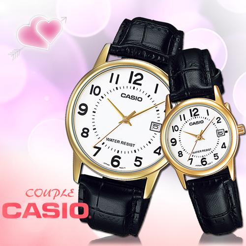 CASIO卡西歐 手錶專賣店 MTP-V002GL+LTP-V002GL 氣質對錶 指針型 礦物防刮玻璃 生活防水 皮革錶帶