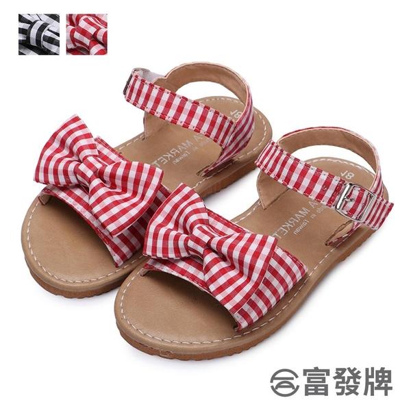【富發牌】日系格紋兒童涼鞋-黑/紅  33ML47
