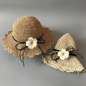 帽子 韓版女童涼帽女孩遮陽帽折疊公主寶寶沙灘帽嬰親子嬰兒童草帽包郵 夢藝家