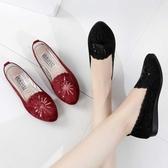 低跟鞋 新款女鞋老北京布鞋低跟套腳時尚亮片刺繡女單鞋平底工作鞋媽媽鞋