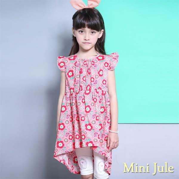 Mini Jule 女童 洋裝 滿版花朵前短後長無袖洋裝(粉紅)