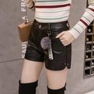 皮短褲 PU皮短褲女秋裝新款正韓時尚百搭高腰寬管褲顯瘦a字靴褲外穿-Ballet朵朵
