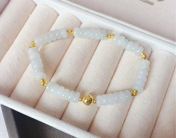 天然翡翠A貨(緬甸玉)冰種算盤珠 手鍊 珠串 優惠價