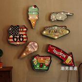 工業風裝飾LED燈壁掛復古鐵藝壁飾鐵皮畫酒吧咖啡餐廳家居裝飾品xw