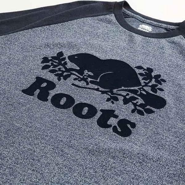 男裝ROOTS 庫柏海狸長袖T恤-藍色