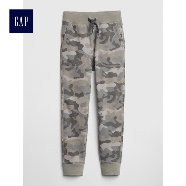 Gap男童 休閒鬆緊腰抽繩束口褲 491891-灰色迷彩