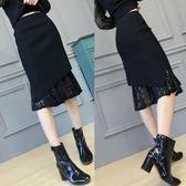 窄裙 高品質百搭針織蕾絲半身裙包臀春秋冬中長款毛線高腰加厚一步裙 免運