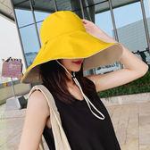 雙面大帽檐遮陽帽女防曬超大沿沙灘出游紫外線遮臉日系漁夫帽子夏魔方數碼館