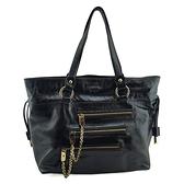 【奢華時尚】TODS 黑色漆亮牛皮前口袋肩背托特包(九成新)#25250