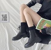 馬丁靴 鬆緊馬丁靴女英倫風2021年新款秋鞋百搭春夏瘦瘦靴短靴潮ins【快速出貨八折特惠】!