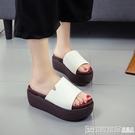 2020夏季韓版厚底坡跟拖鞋女士磨砂皮鬆糕底一字拖涼鞋增高涼拖鞋 印象家品