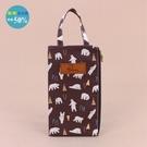 手提包 包包 防水包 雨朵小舖 M385-0005 花漾單提小扁包-咖啡北極熊大朋友09065 funbaobao